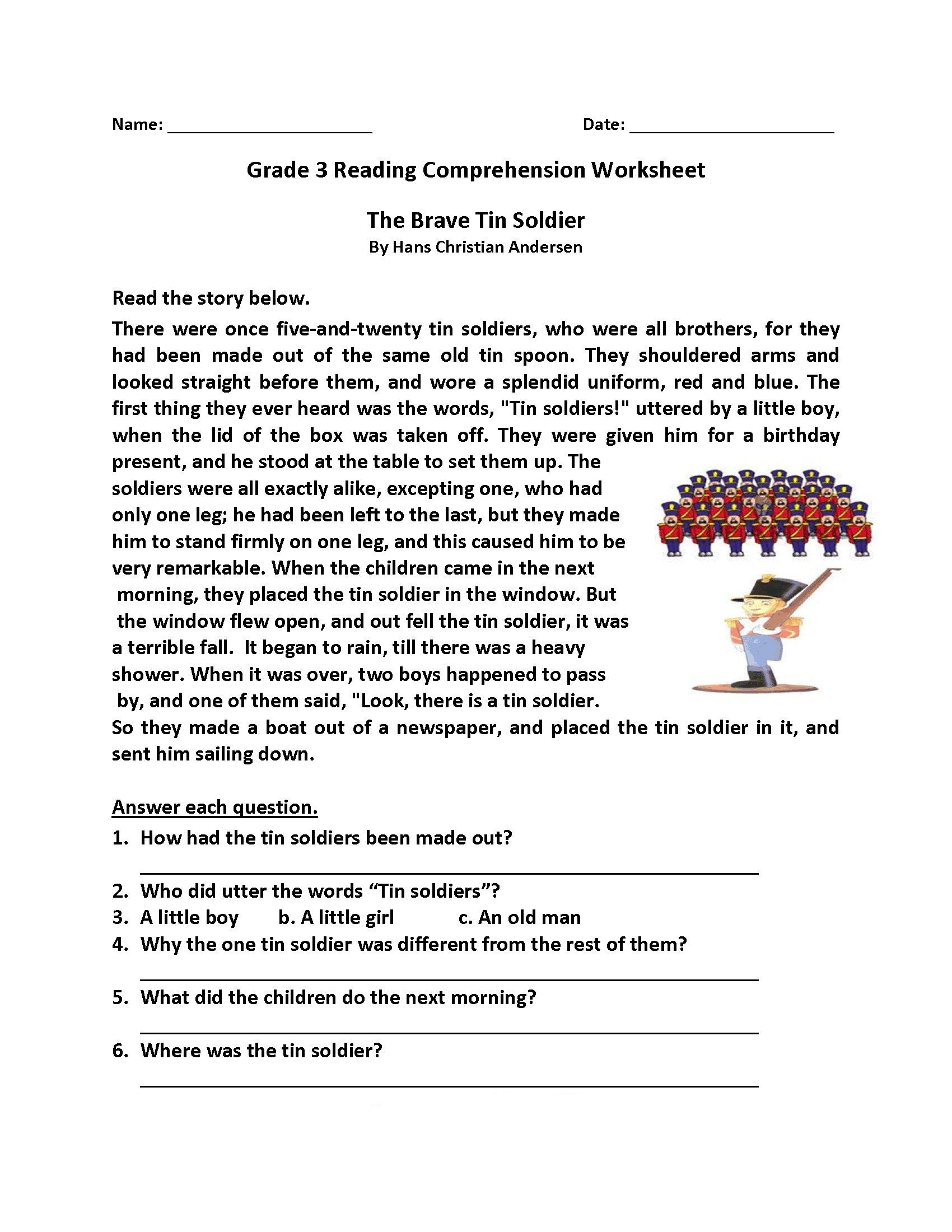 3rd Grade Reading prehension Worksheet