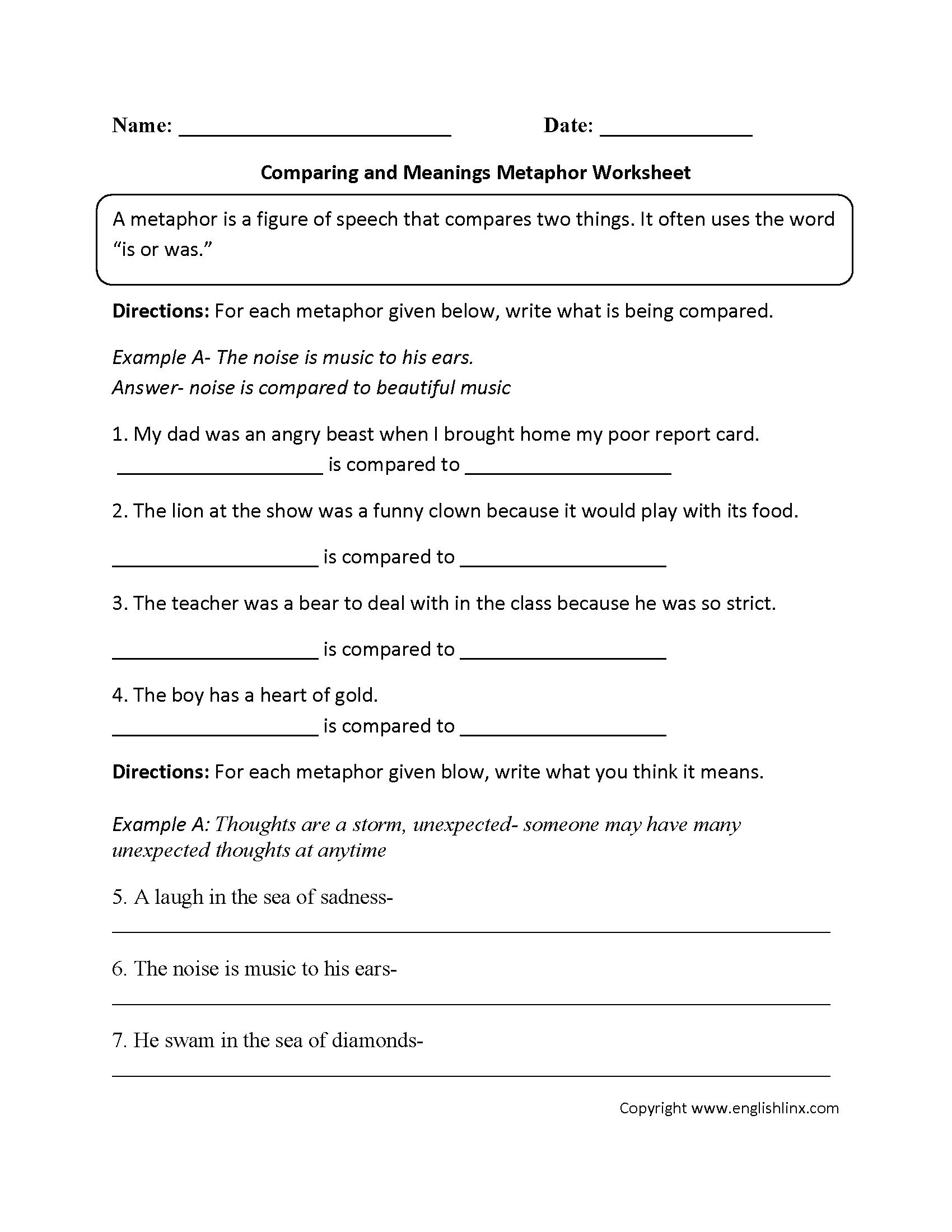 metaphor worksheet 3rd grade 2