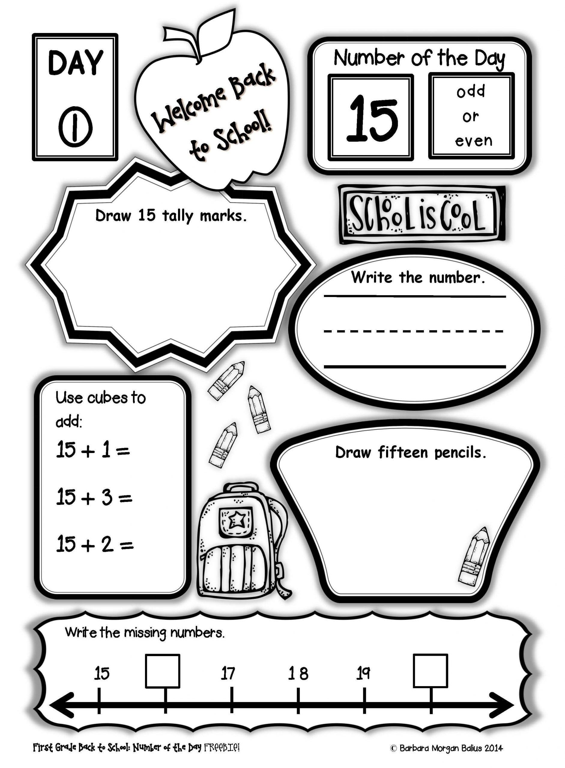 Graphing Worksheets for First Grade First Grade Number Of the Day Freebie