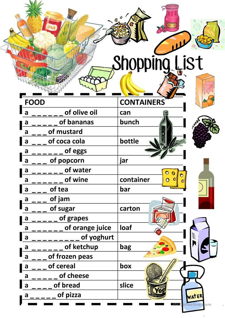 Grocery Shopping Worksheets Food Containers Shopping List Fill In Review English Esl