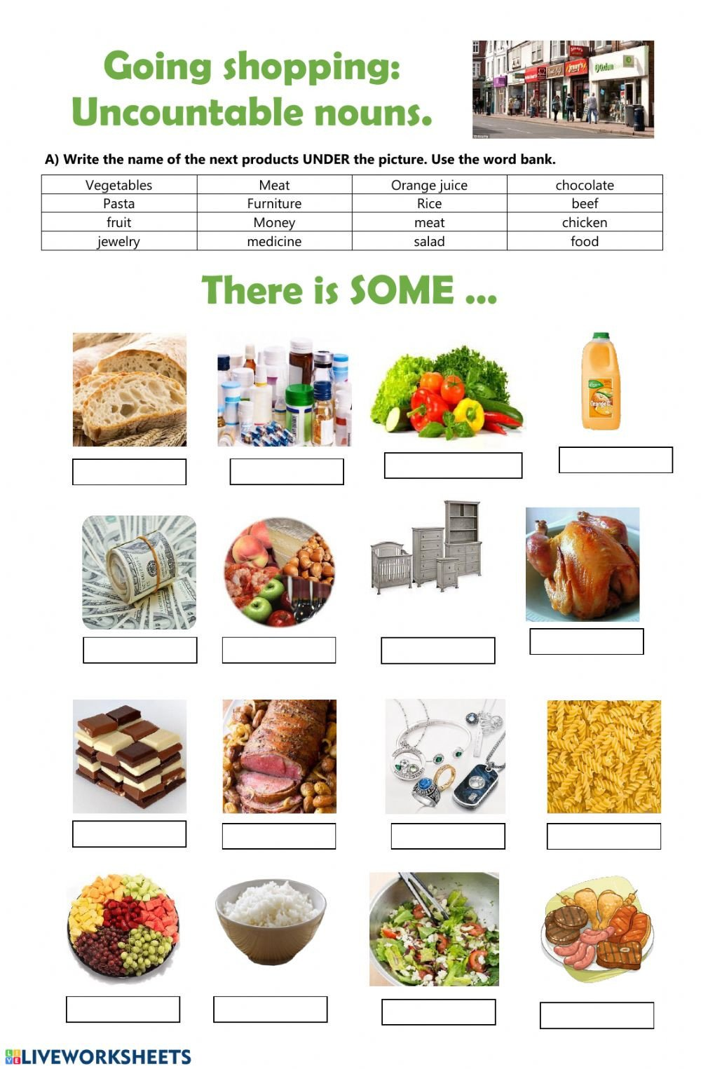 Grocery Shopping Worksheets Going Shopping Uncountable Nouns Interactive Worksheet