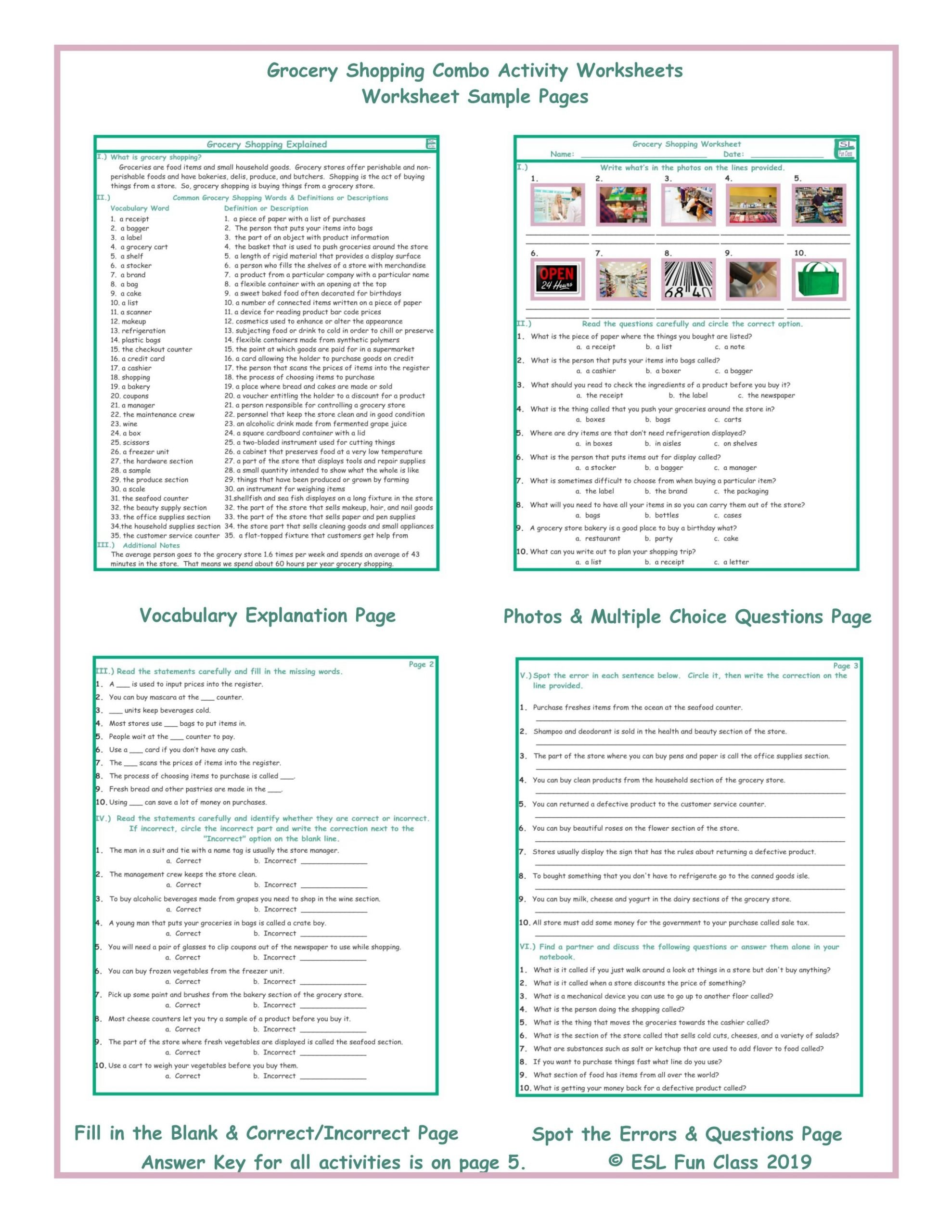 Grocery Shopping Worksheets Grocery Shopping Bo Activity Worksheets