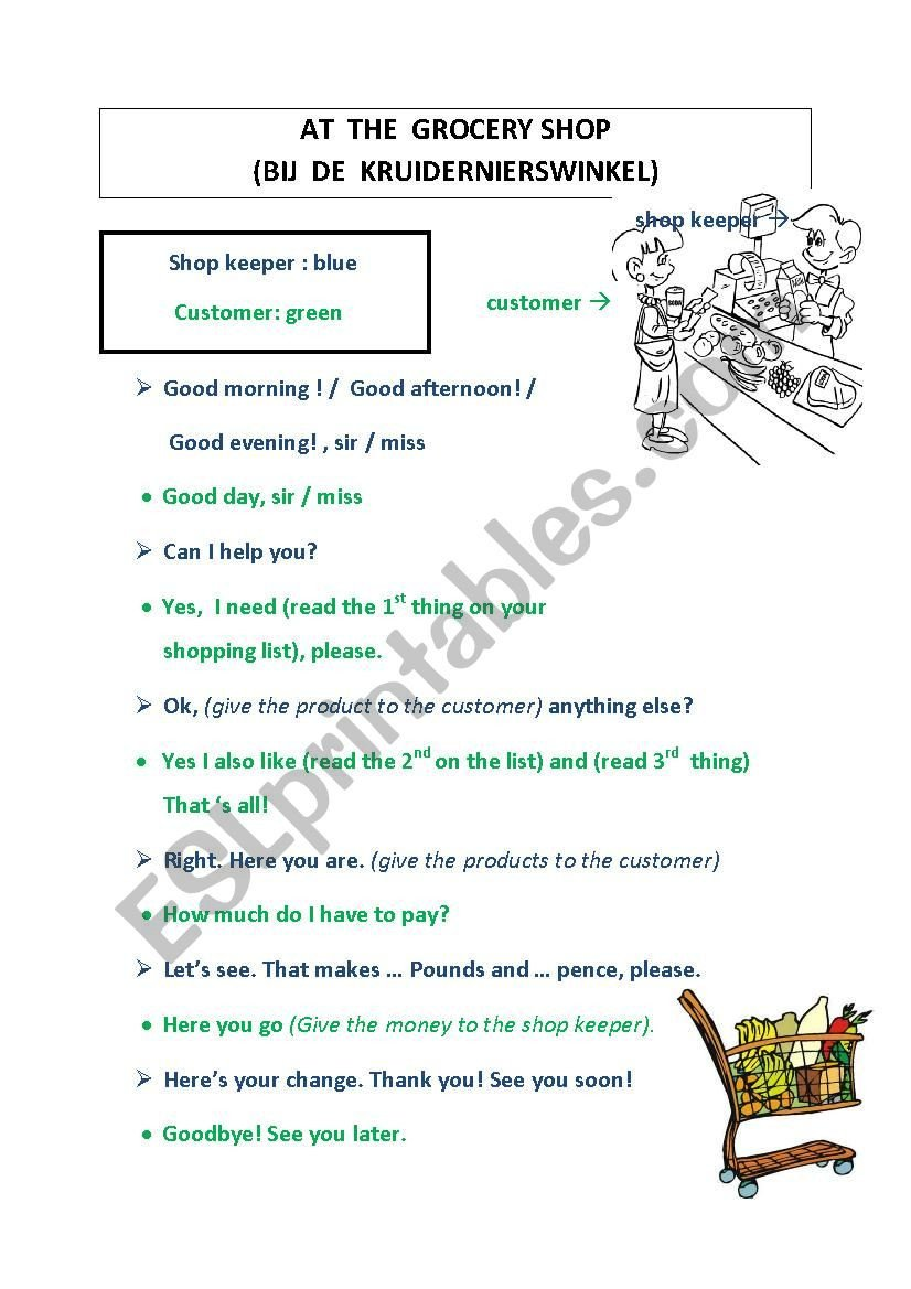 Grocery Shopping Worksheets Grocery Shopping Dialogue Esl Worksheet by Robertrobert