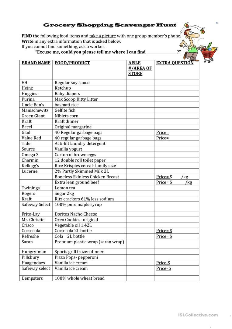 Grocery Shopping Worksheets Grocery Shopping Scavenger Hunt English Esl Worksheets for