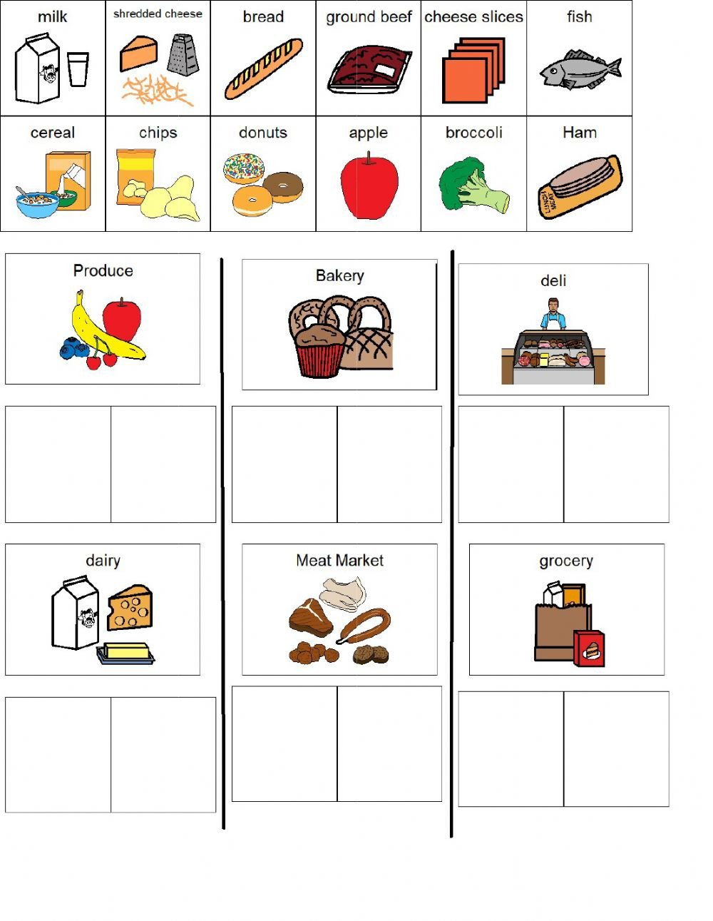 Grocery Shopping Worksheets Grocery Store sort Interactive Worksheet