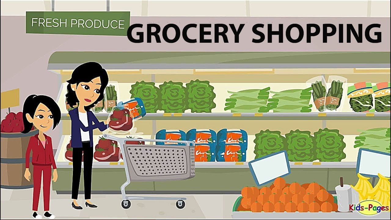Grocery Shopping Worksheets Shopping at the Grocery Store English Conversation