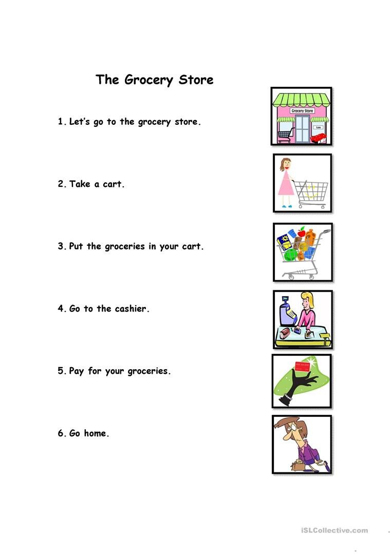 The Grocery Store English ESL Worksheets for distance