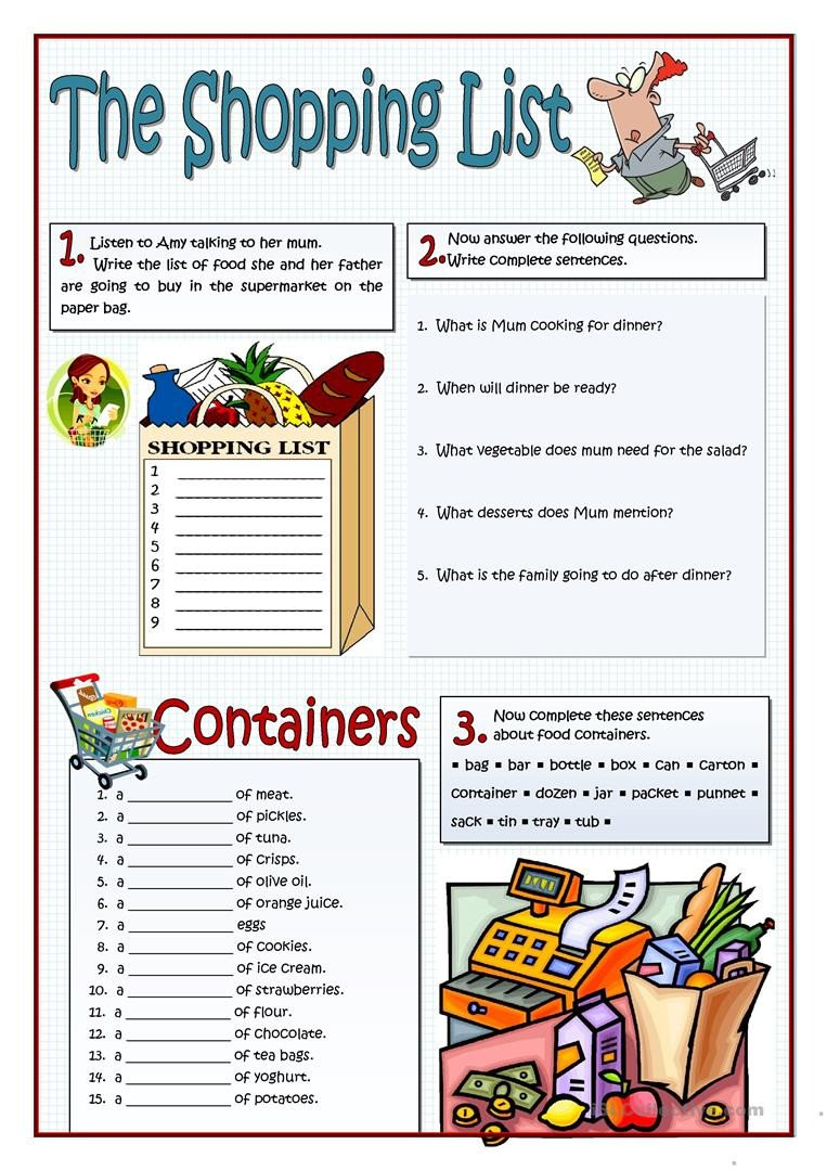 Grocery Shopping Worksheets the Shopping List English Esl Worksheets for Distance