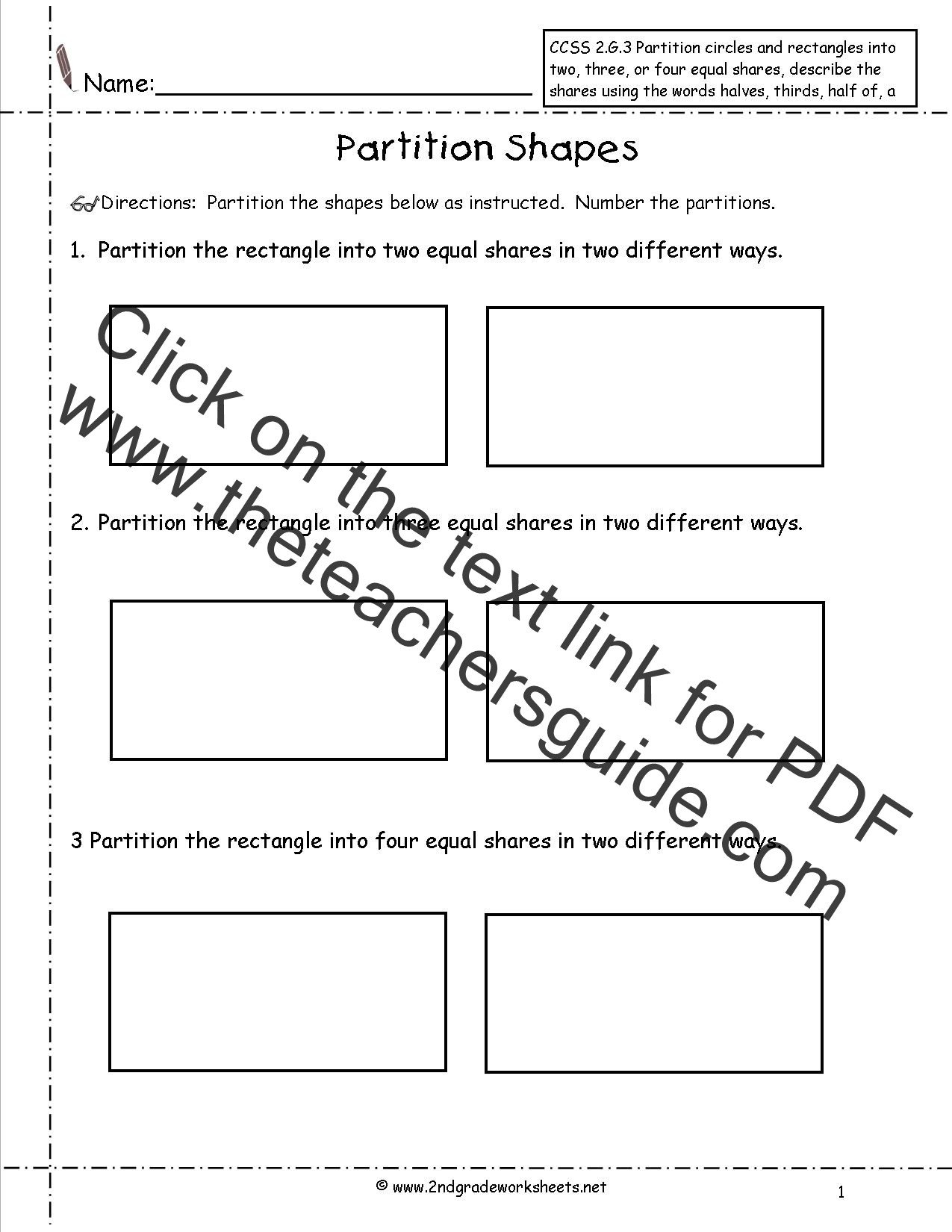 Halves Thirds Fourths Worksheets Ccss 2 G 3 Worksheets Partition Shapes