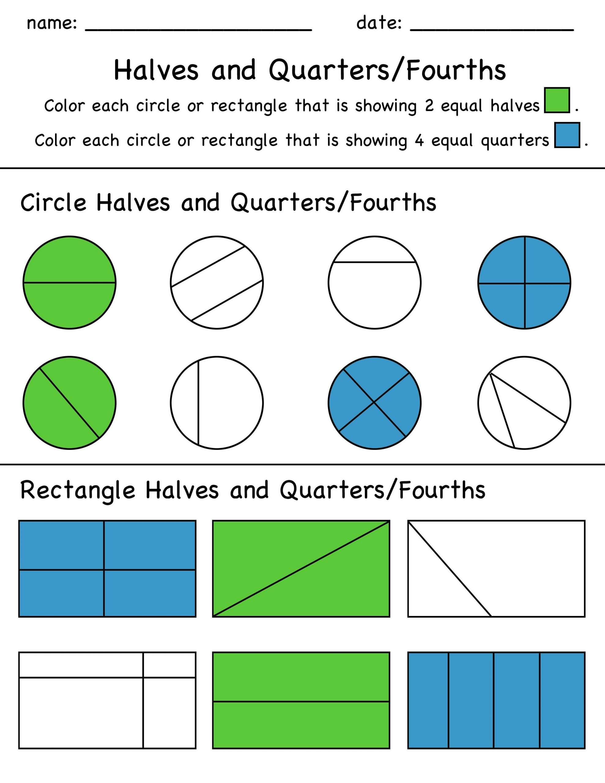 Halves Thirds Fourths Worksheets Halves and Quarters Fractions Color In Worksheet Students