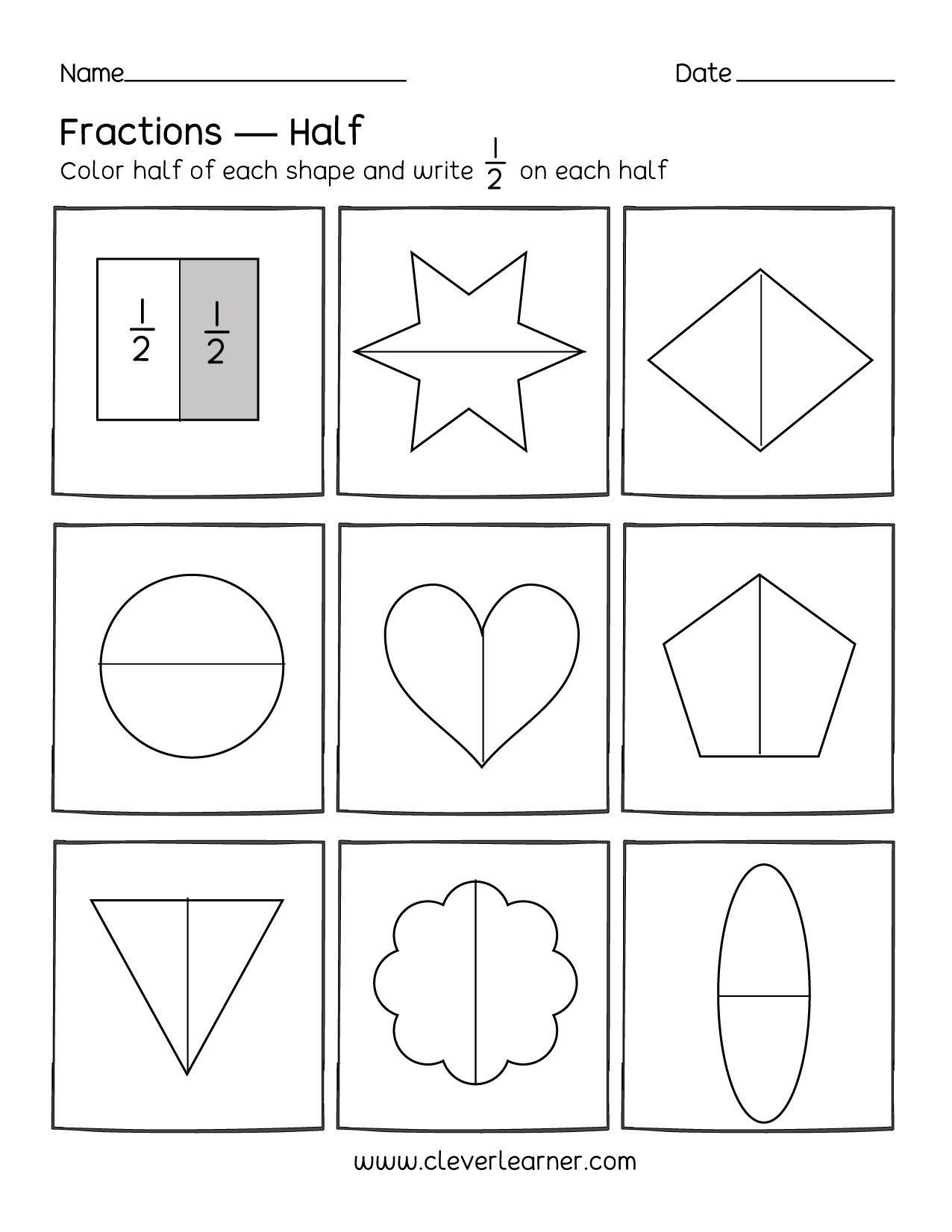 Halves Thirds Fourths Worksheets Identifying Fractions Worksheet 1 Of 6