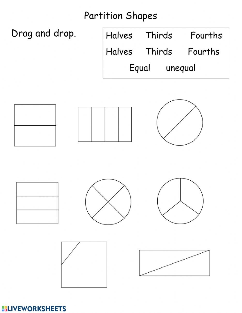 Halves Thirds Fourths Worksheets Partition Shapes Interactive Worksheet