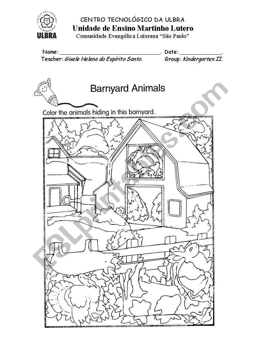 Hidden Animal Pictures Worksheets Barnyard Animals Esl Worksheet by Giselehes