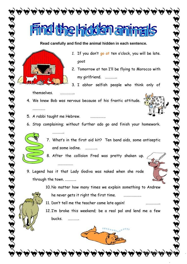 Hidden Animal Pictures Worksheets Find the Hidden Animals English Esl Worksheets for