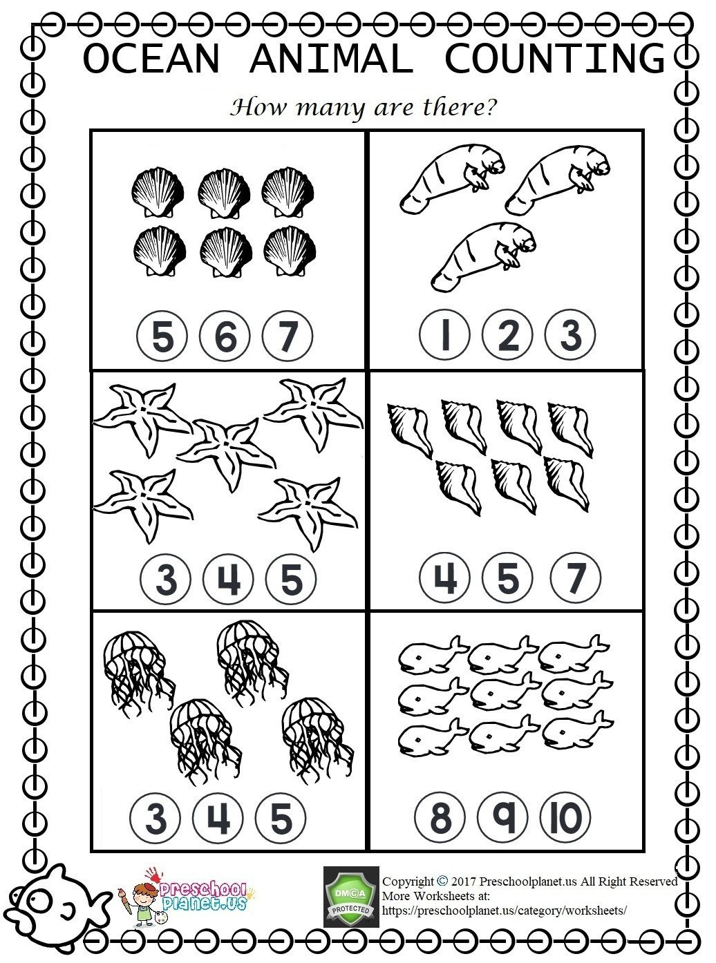 Hidden Animal Pictures Worksheets Sea Animal Counting Worksheet – Preschoolplanet