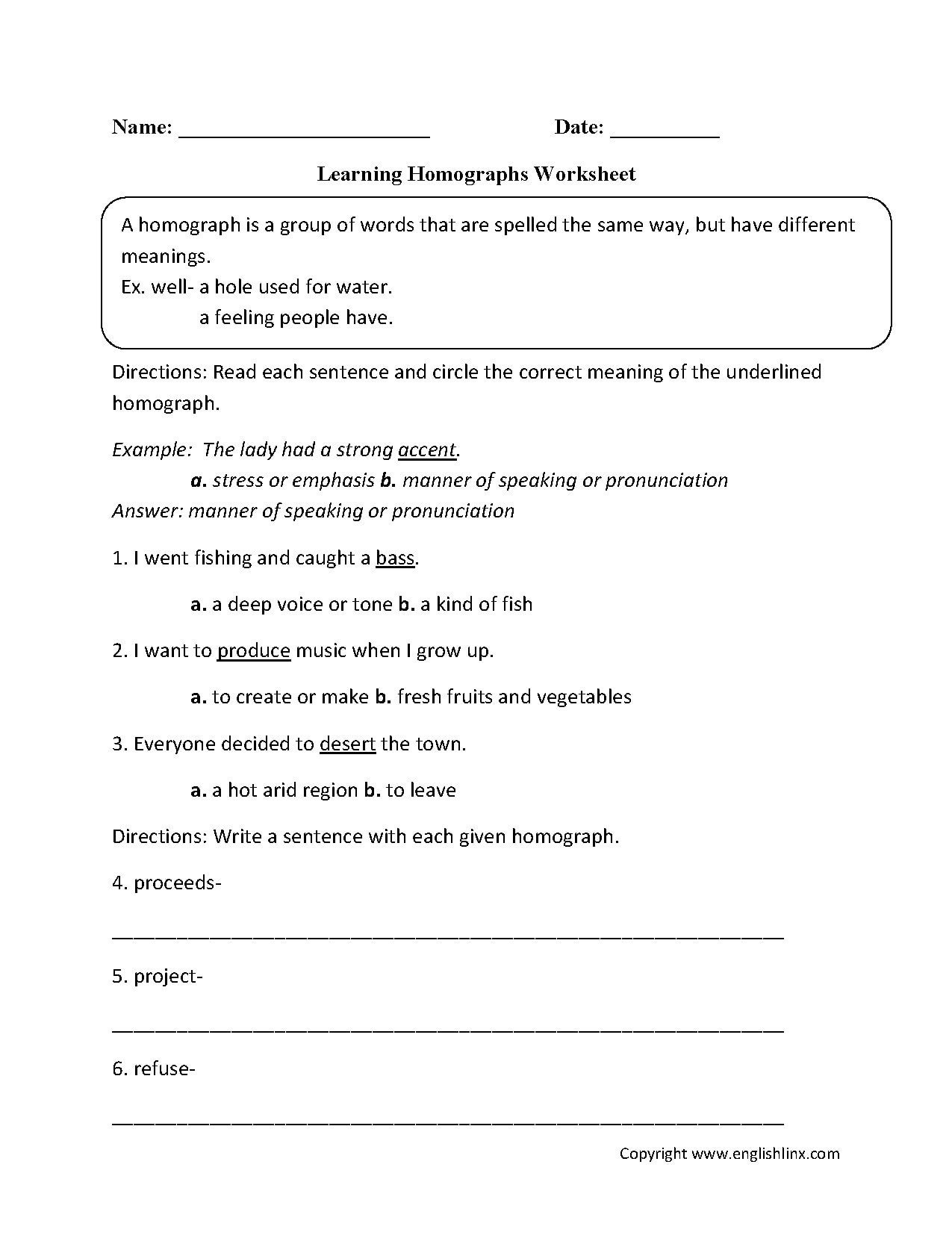 Homograph Worksheets 5th Grade Free Homograph Worksheet