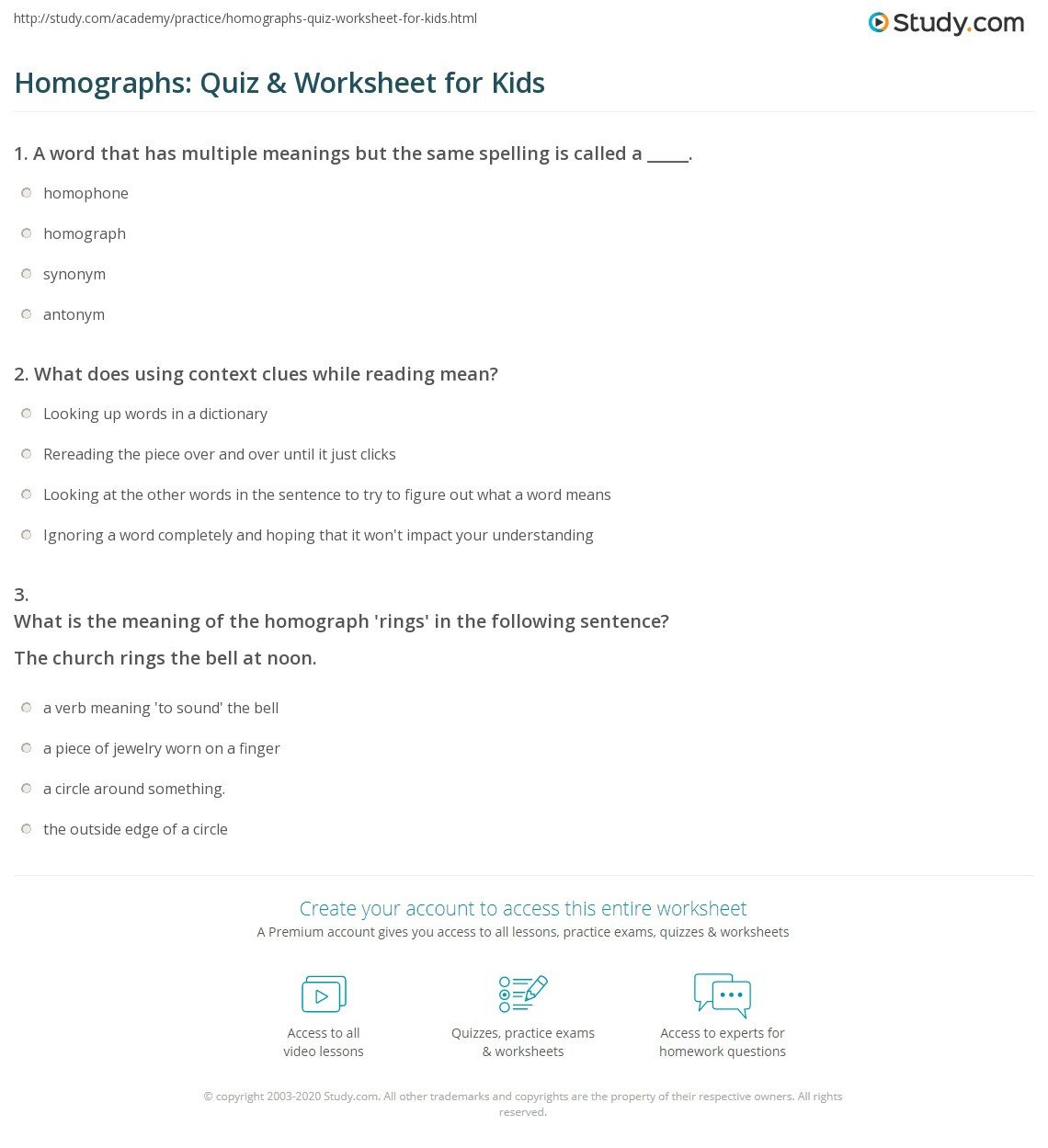 Homograph Worksheets 5th Grade Homographs Quiz & Worksheet for Kids