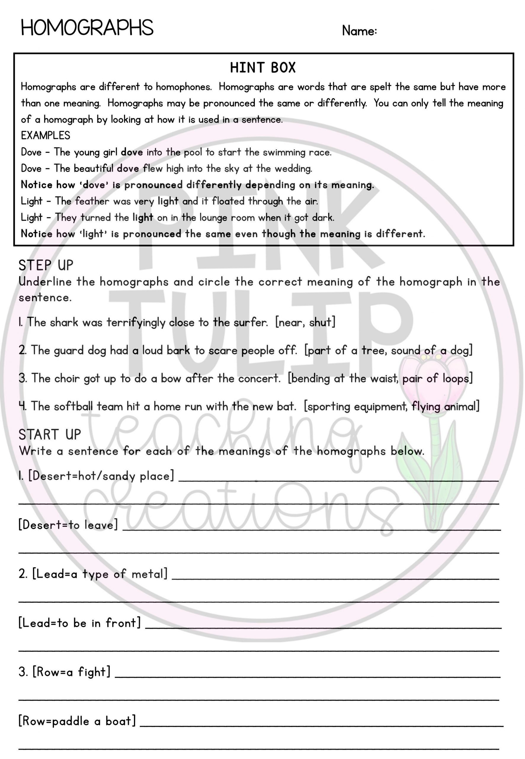 Homograph Worksheets 5th Grade Homographs Worksheet