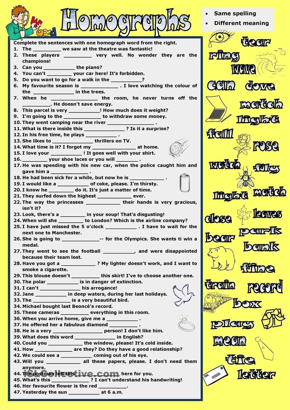 Homographs Worksheets Pdf Homographs