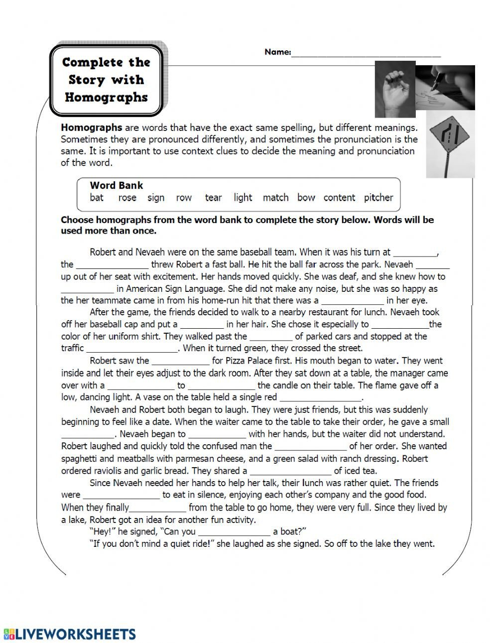 Homographs Worksheets Pdf Homographs Worksheet Interactive Worksheet