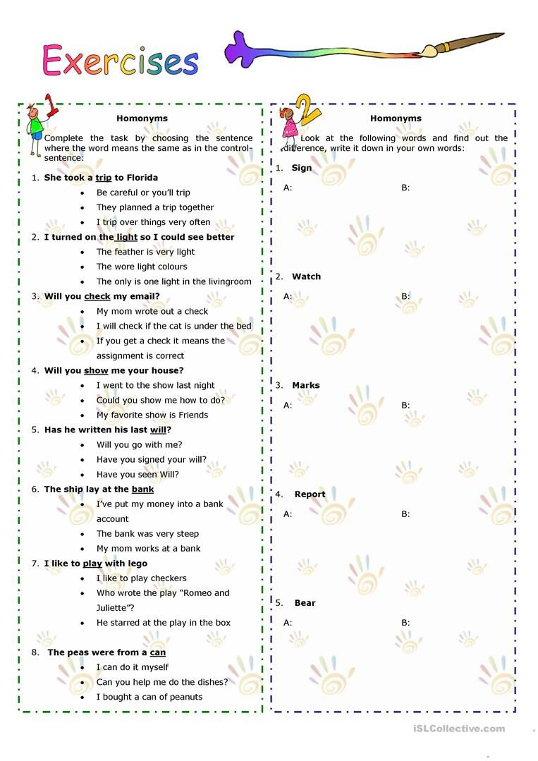 Homographs Worksheets Pdf Homonyms Homophones Homographs English Esl Worksheets