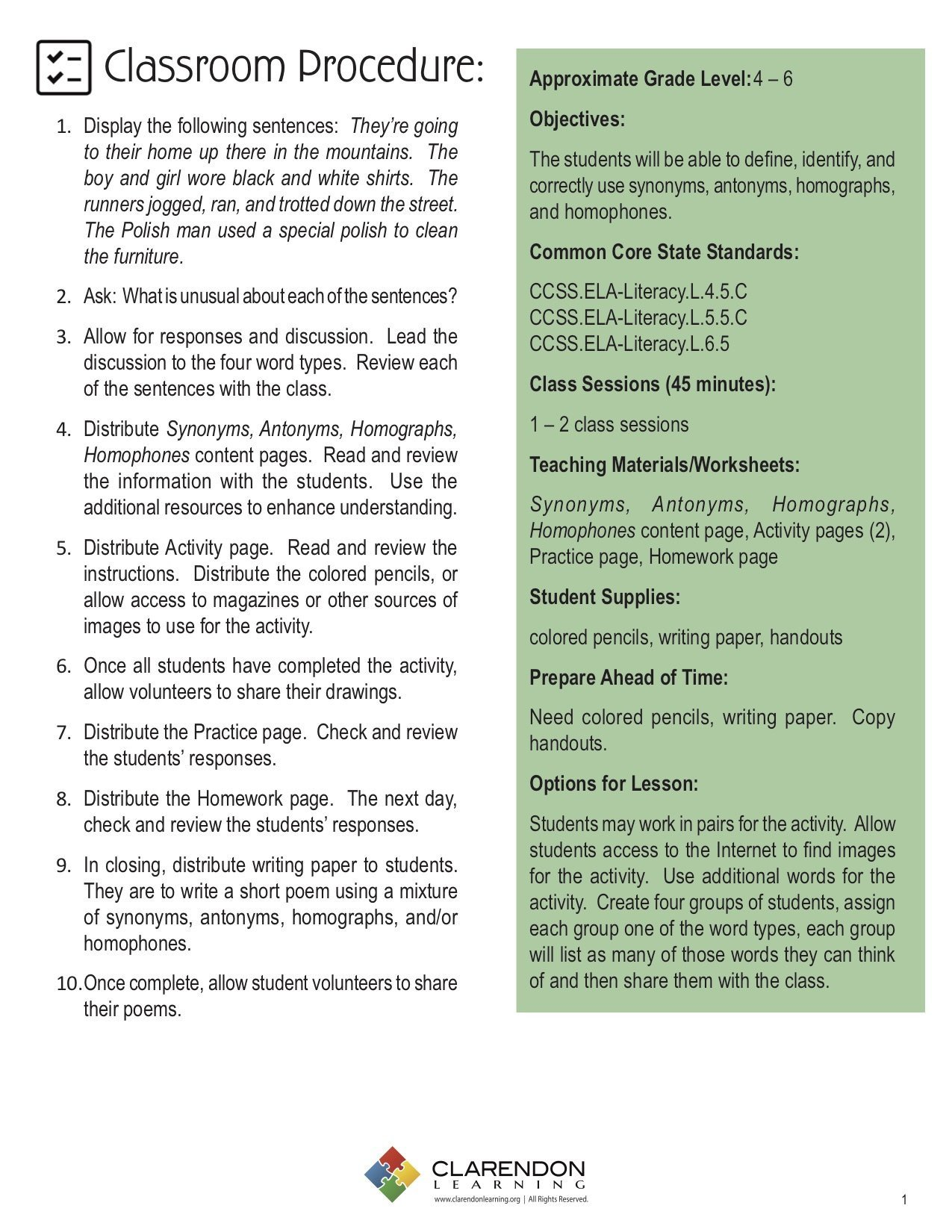 Homophones and Homographs Worksheets Synonyms Antonyms Homographs Homophones