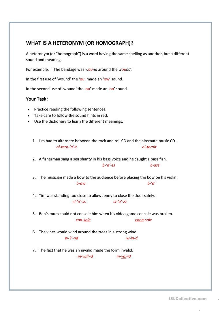 Homophones Worksheet High School Homographs Heteronyms English Esl Worksheets for
