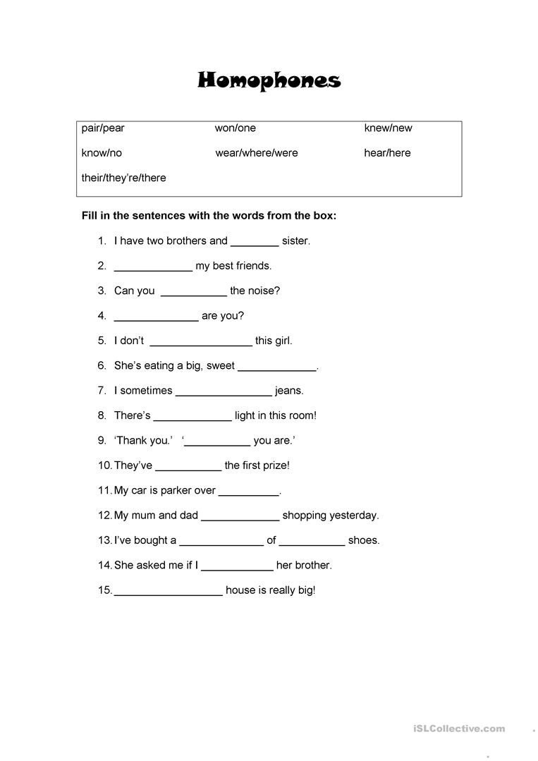 Homophones Worksheet High School Homophones for Beginners English Esl Worksheets for