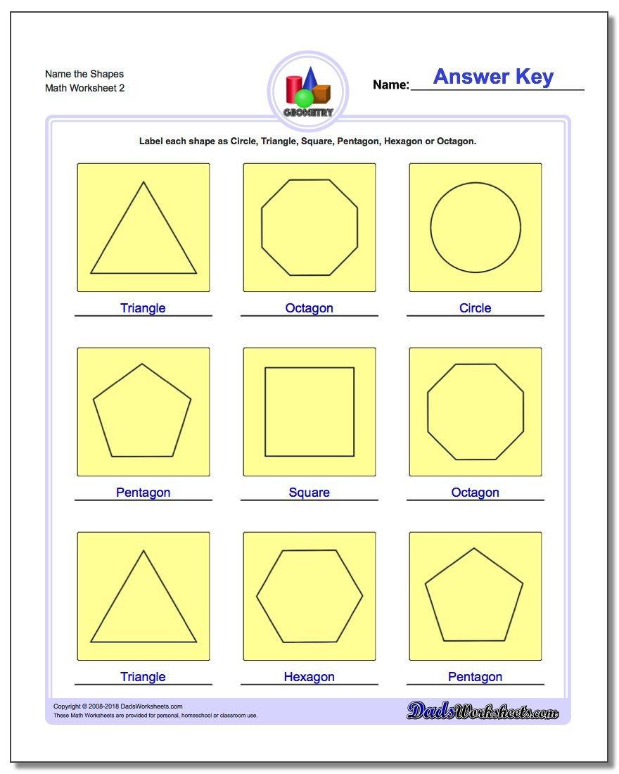 Identify Shapes Worksheet Kindergarten Basic Shapes
