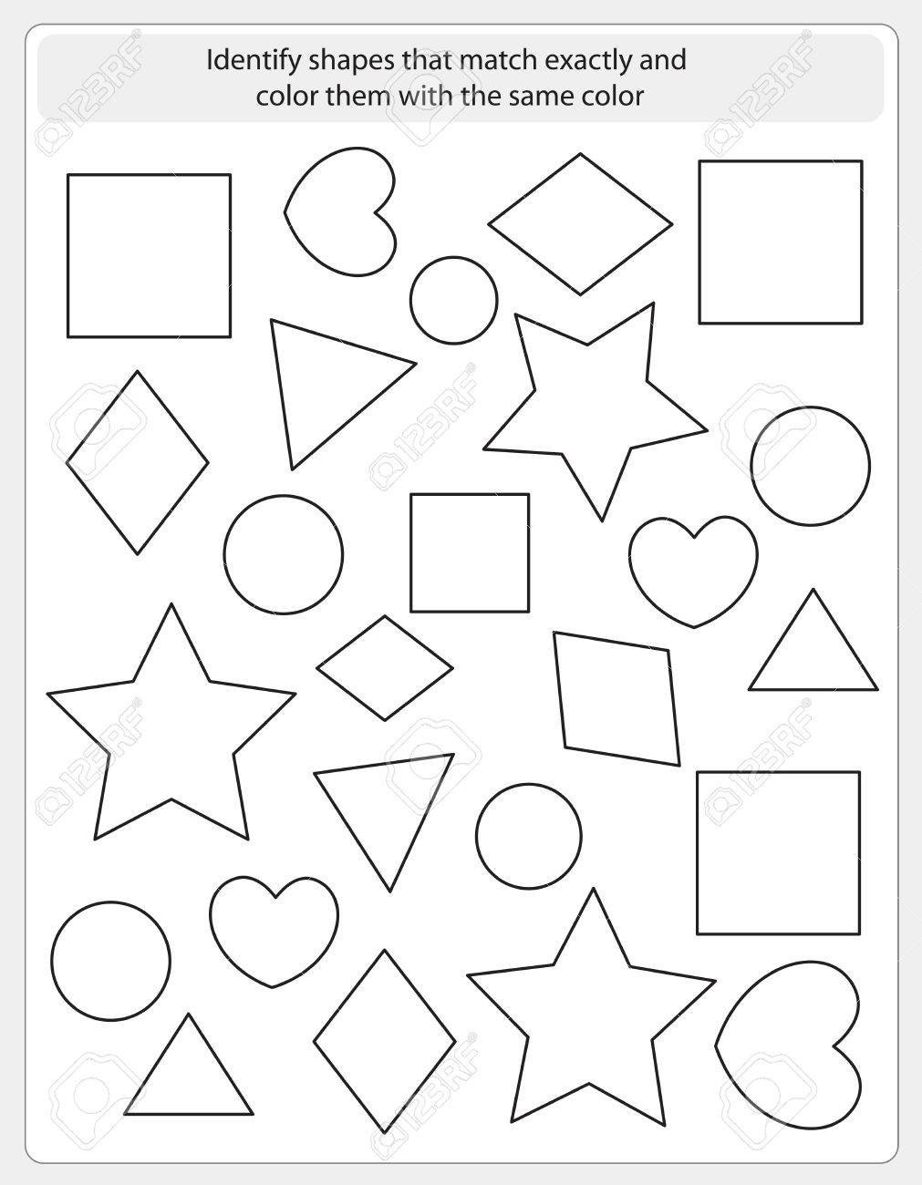 Identify Shapes Worksheets Kids Worksheet with Shapes to Match and Color Same Shape