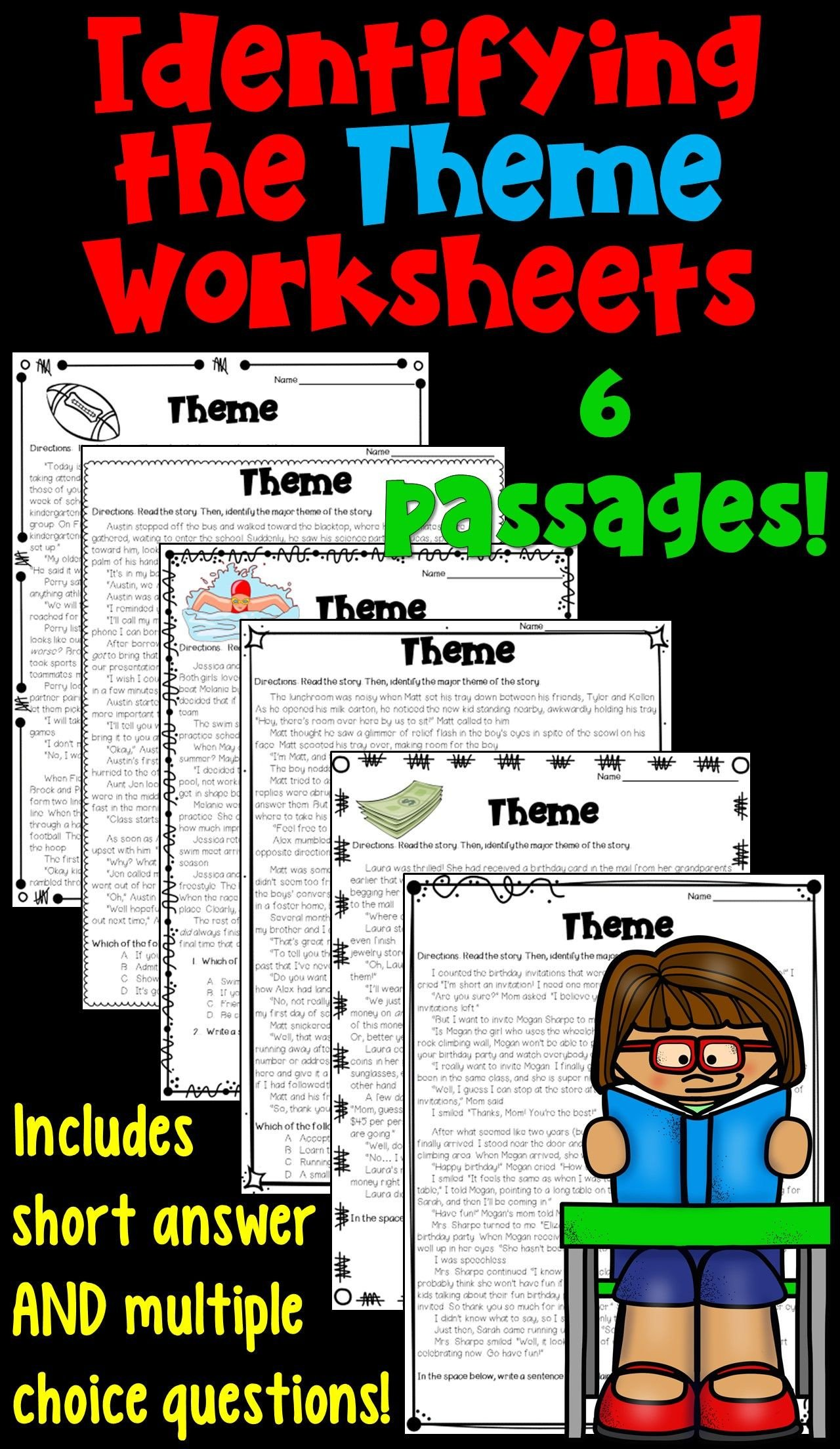Identifying theme In Literature Worksheets Identifying the theme Worksheet Packet these 6 Worksheets