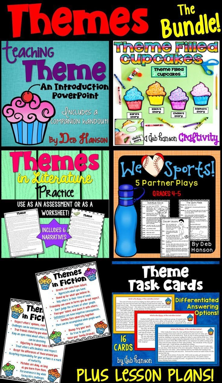 Identifying theme In Literature Worksheets themes In Reading Bundle This Bundle Contains Multiple