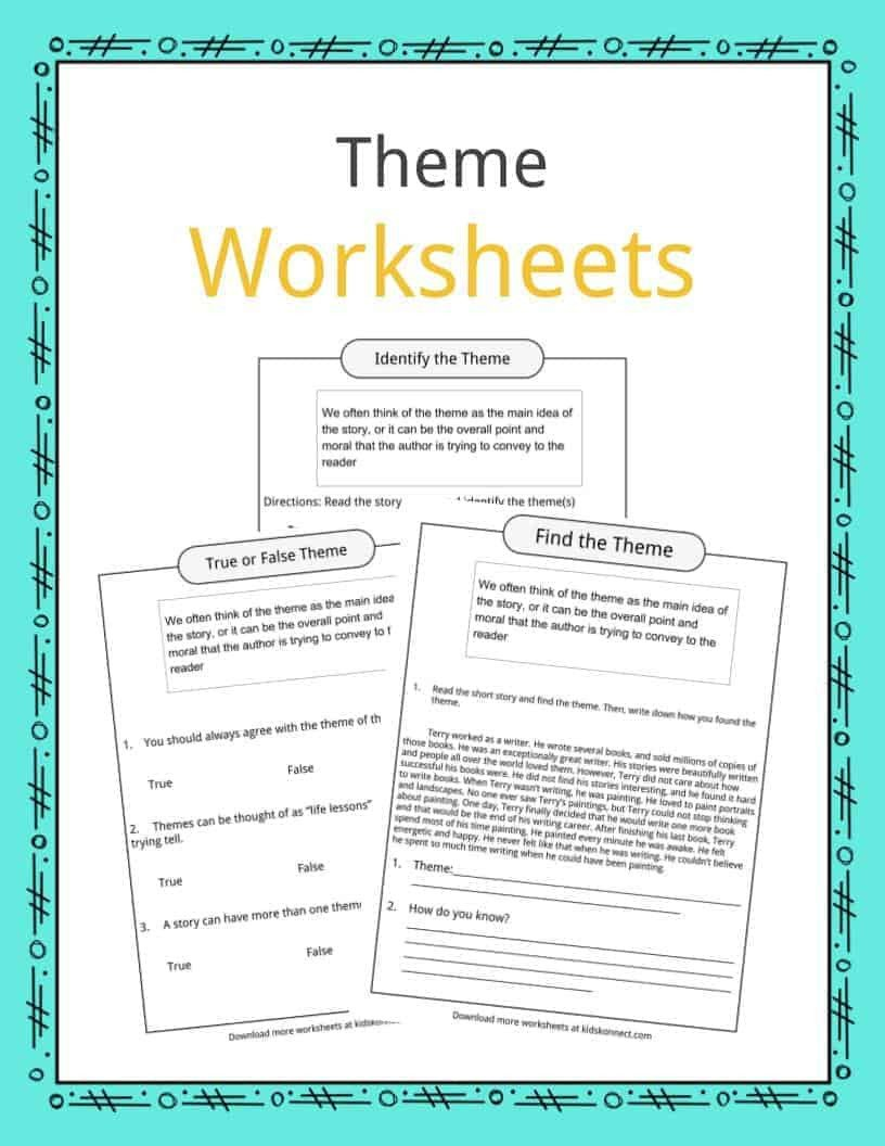 Identifying theme Worksheet theme Worksheets Examples & Description for Kids On