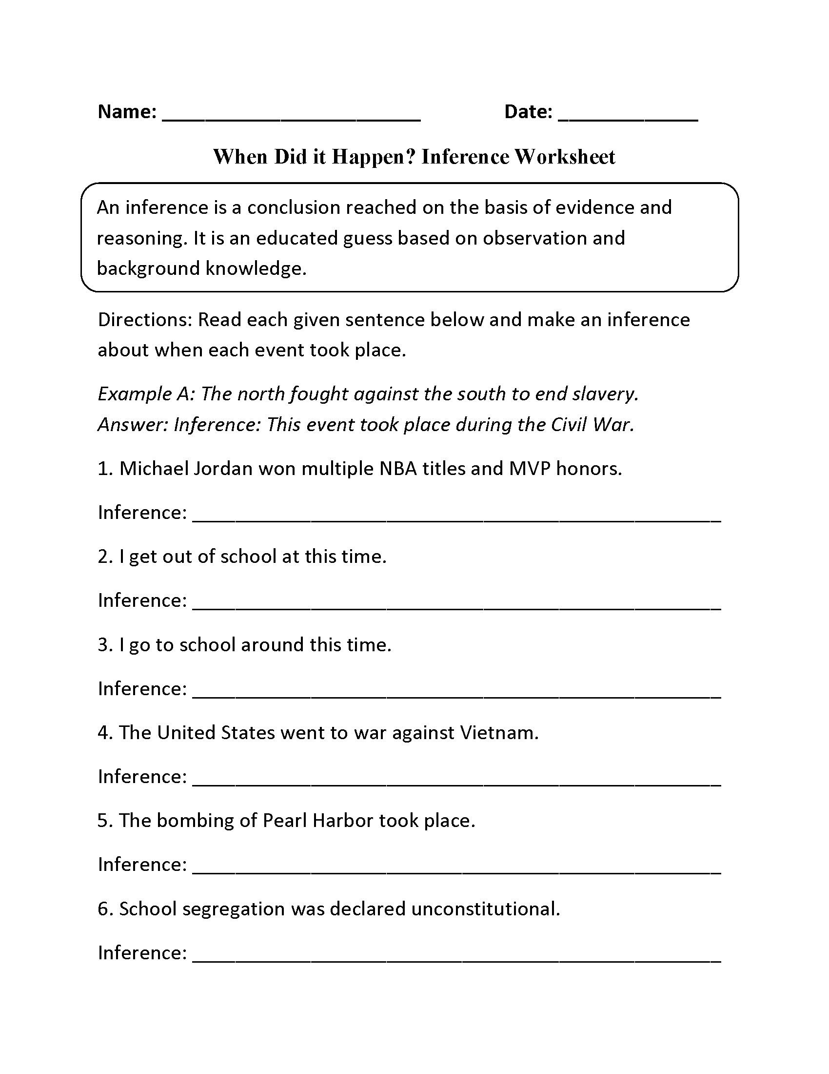 making inferences worksheets 5th grade