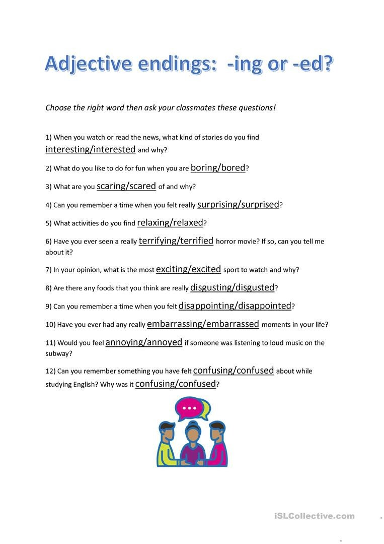 adjective endings ed or ing conversation questions conversation topics dialogs 1