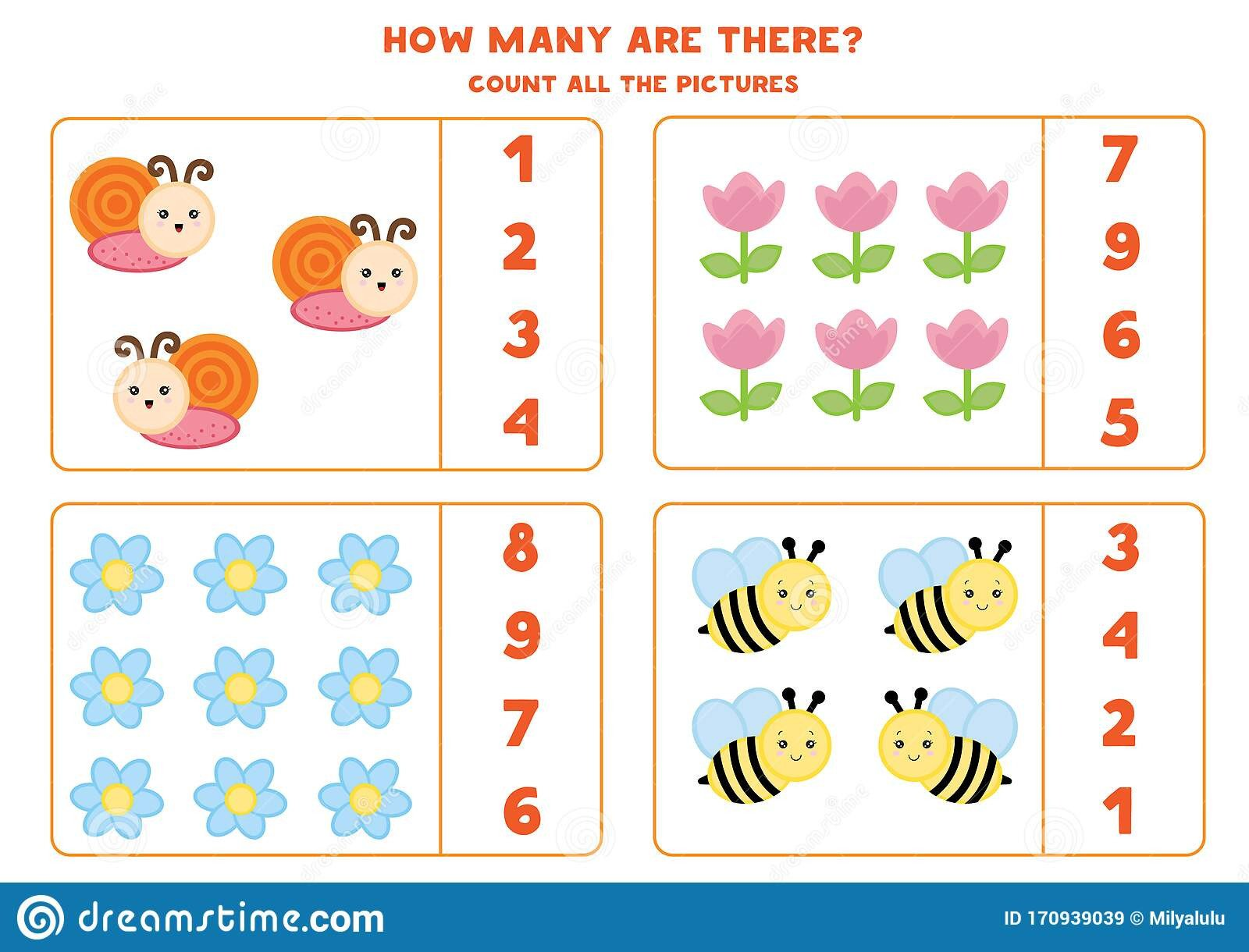 educational worksheet preschool kids count insects flowers math game children