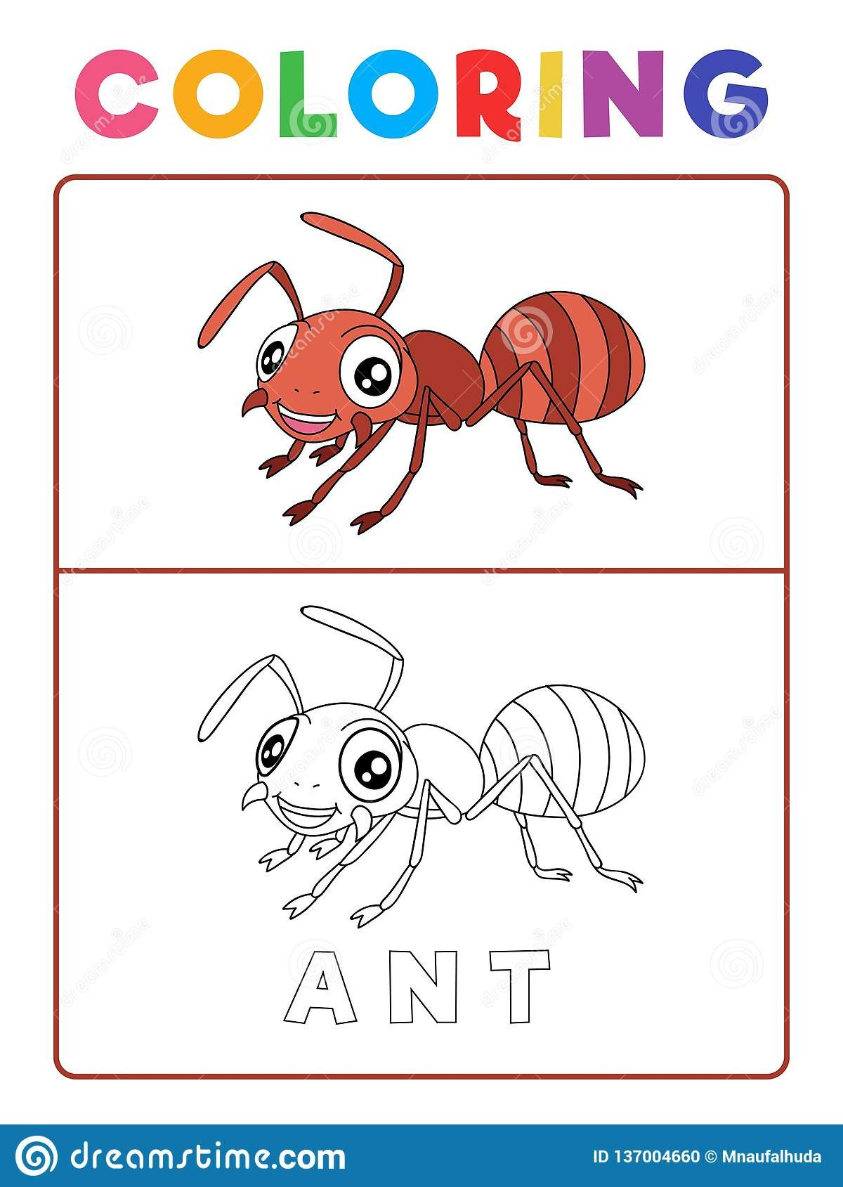 funny ant insect animal coloring book example preschool worksheet practicing fine colors recognition skill vector funny