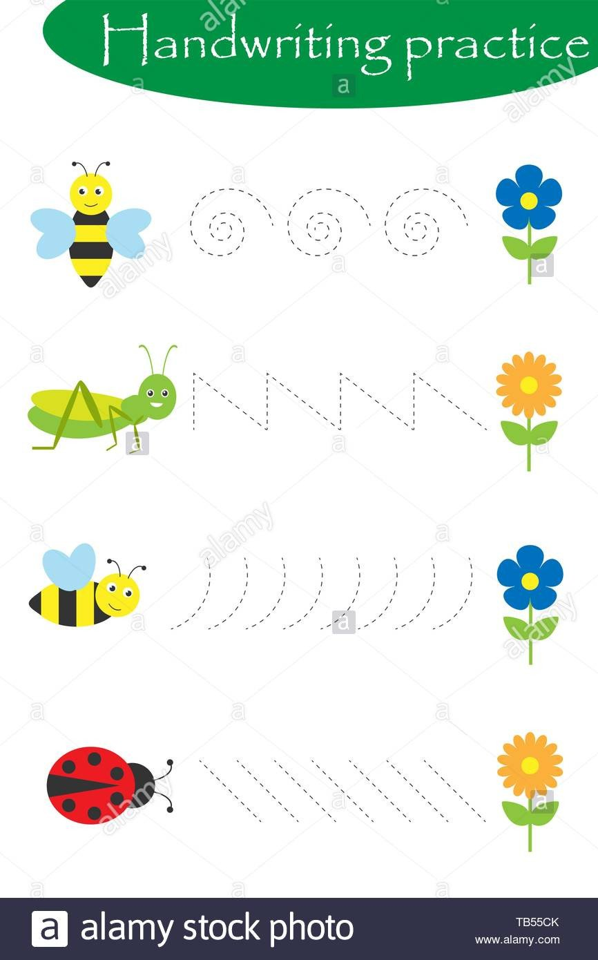 insects in artoon style handwriting practice sheet kids preschool activity educational children game printable worksheet writing training vector tb55ck for preschoolers name