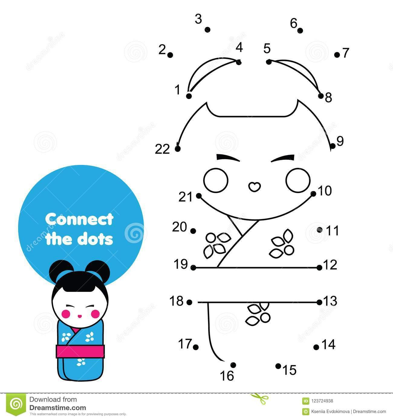 Japanese for Kids Worksheets Connect the Dots by Numbers Educational Game for Children