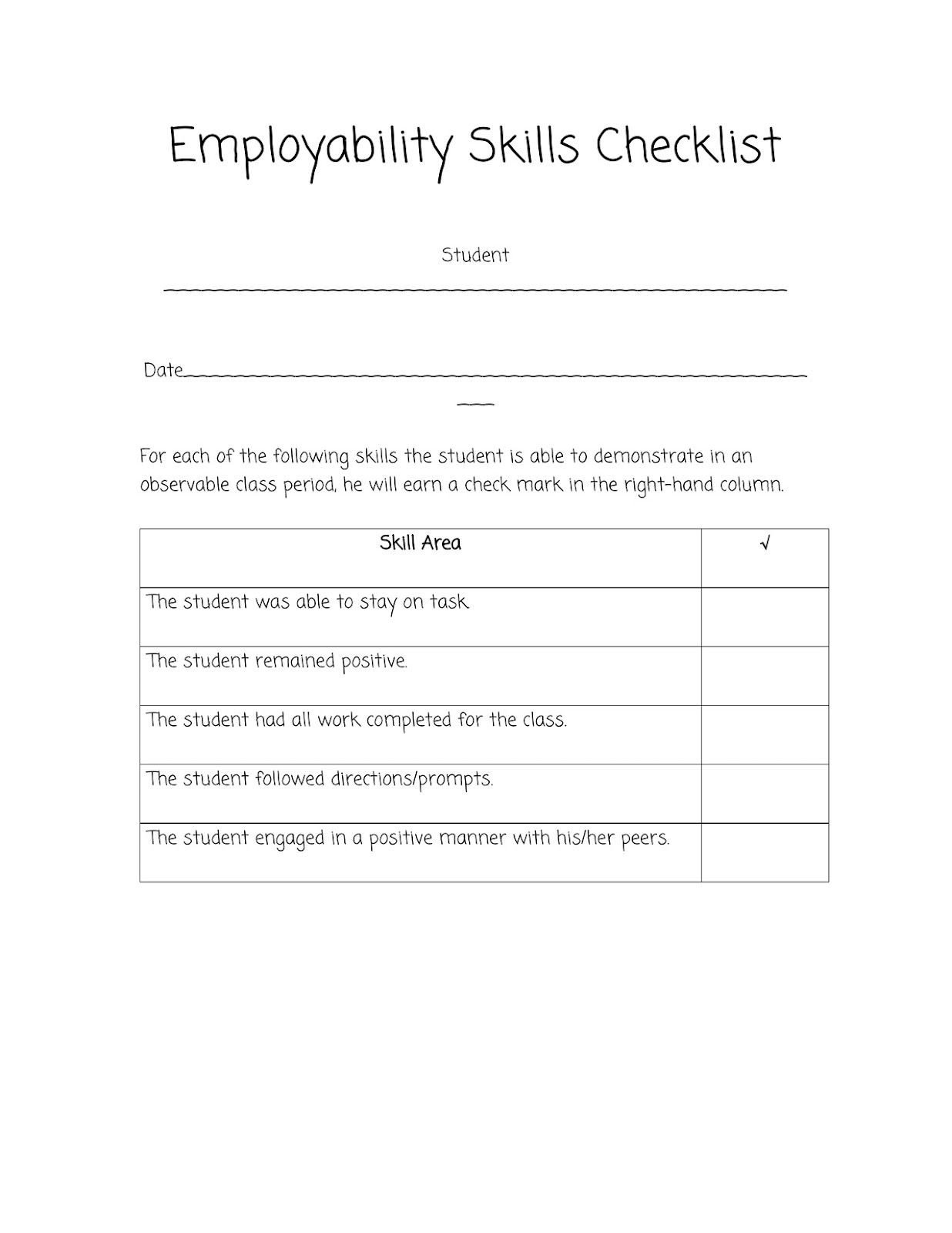 Job Readiness Printable Worksheets Sped Head Employability Skills Checklist Worksheets for