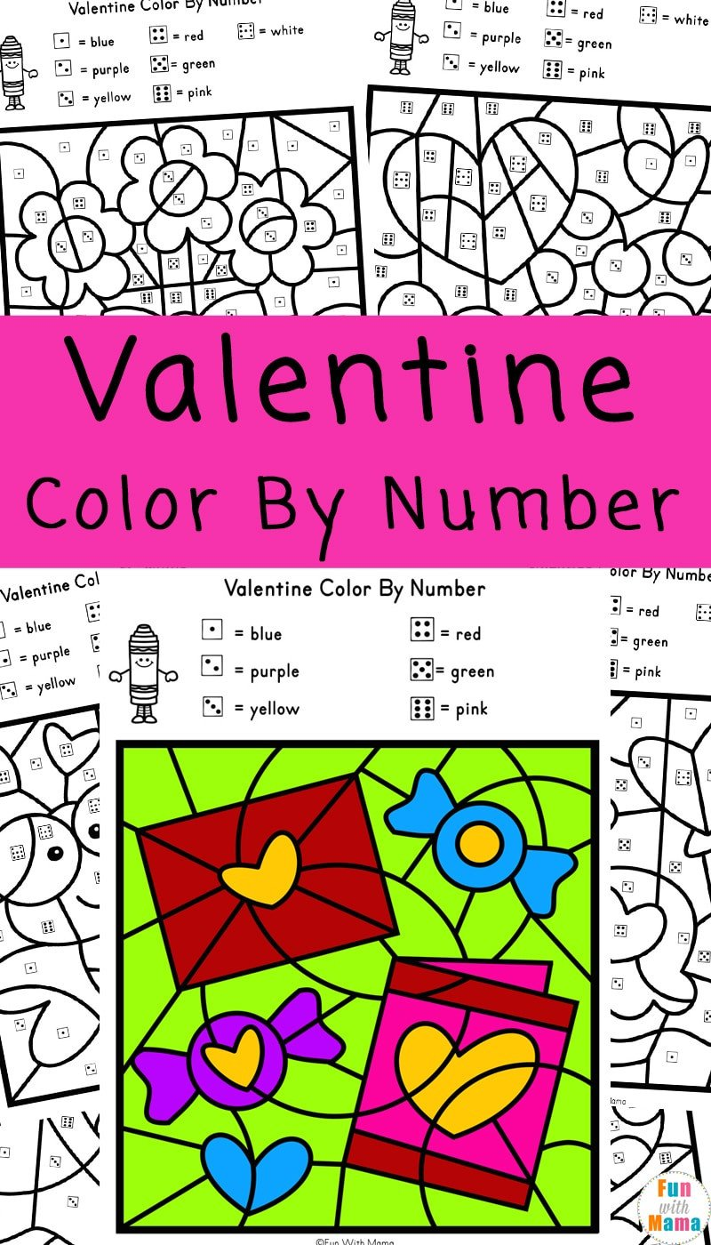Kindergarten Color by Number Worksheets Valentine Color by Number Worksheets Fun with Mama