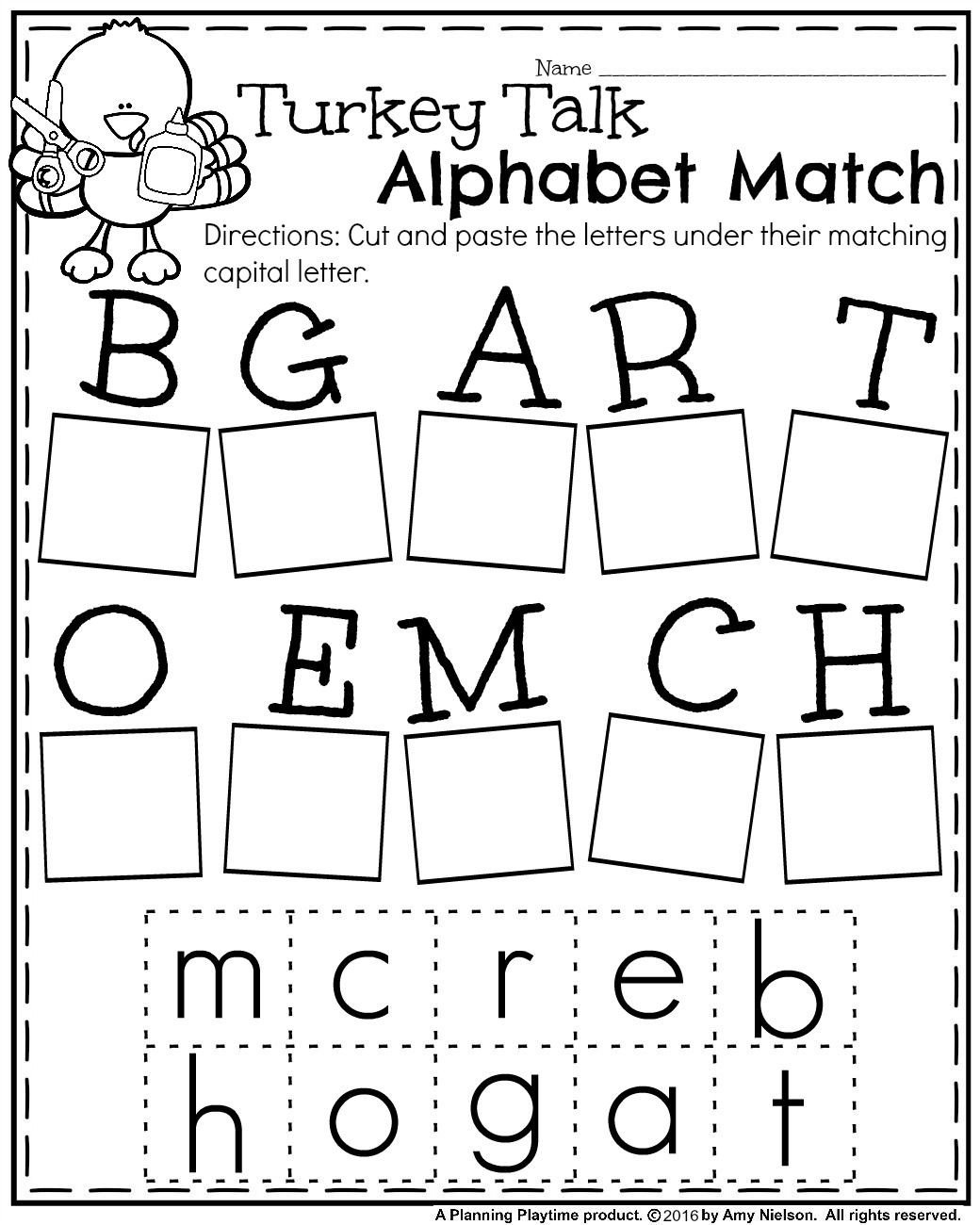 Kindergarten Cut and Paste Worksheets Fall Kindergarten Worksheets for November