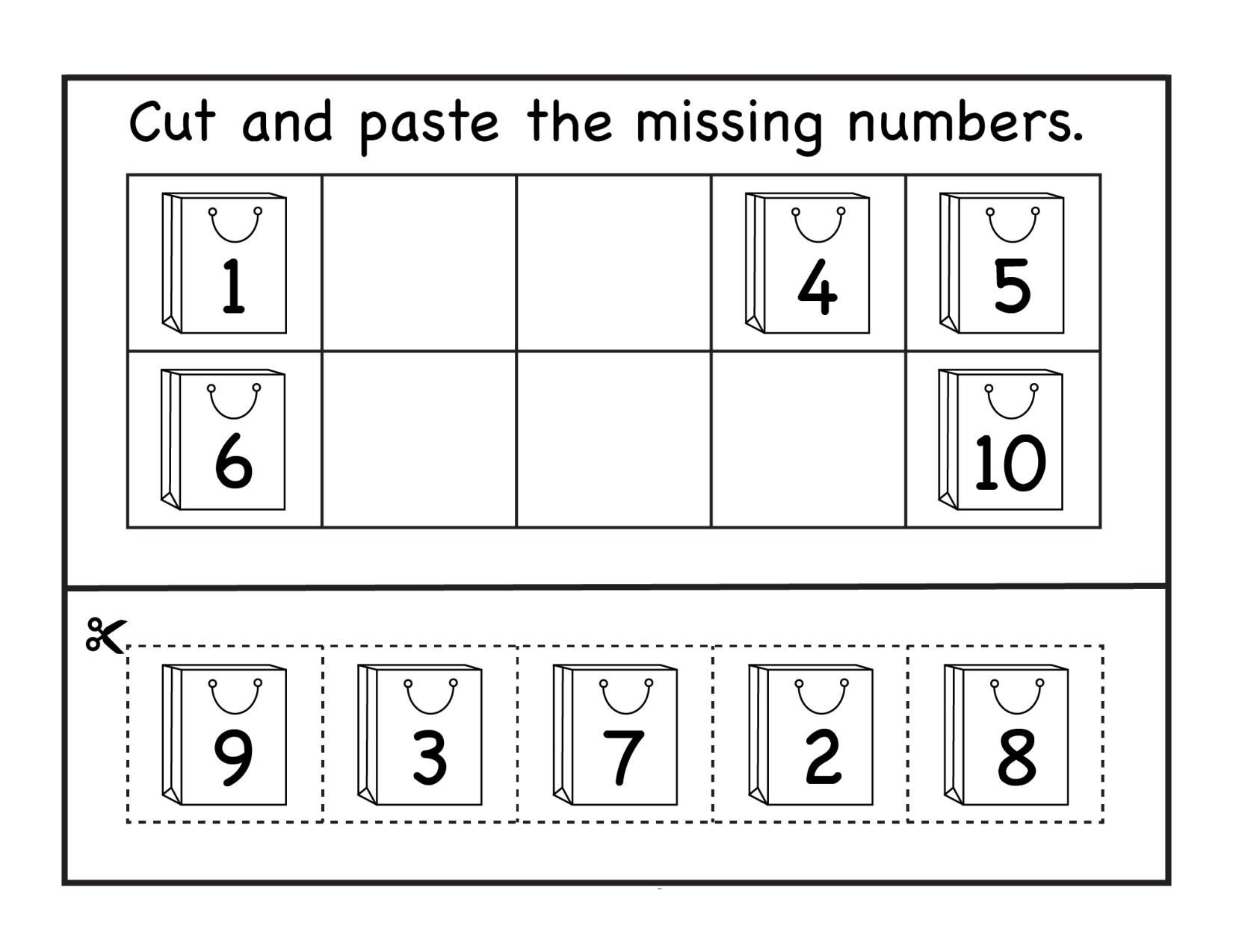 Kindergarten Worksheets Cut and Paste Counting Archives Page 7 Of 14