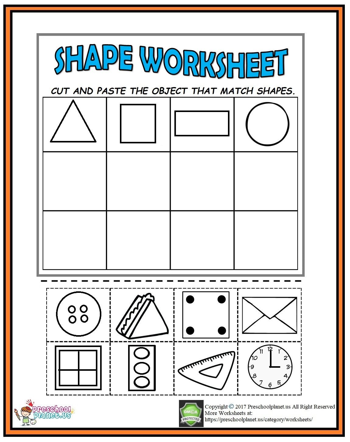 Kindergarten Worksheets Cut and Paste Cut and Paste Shape Worksheet for Kindergarten – Preschoolplanet