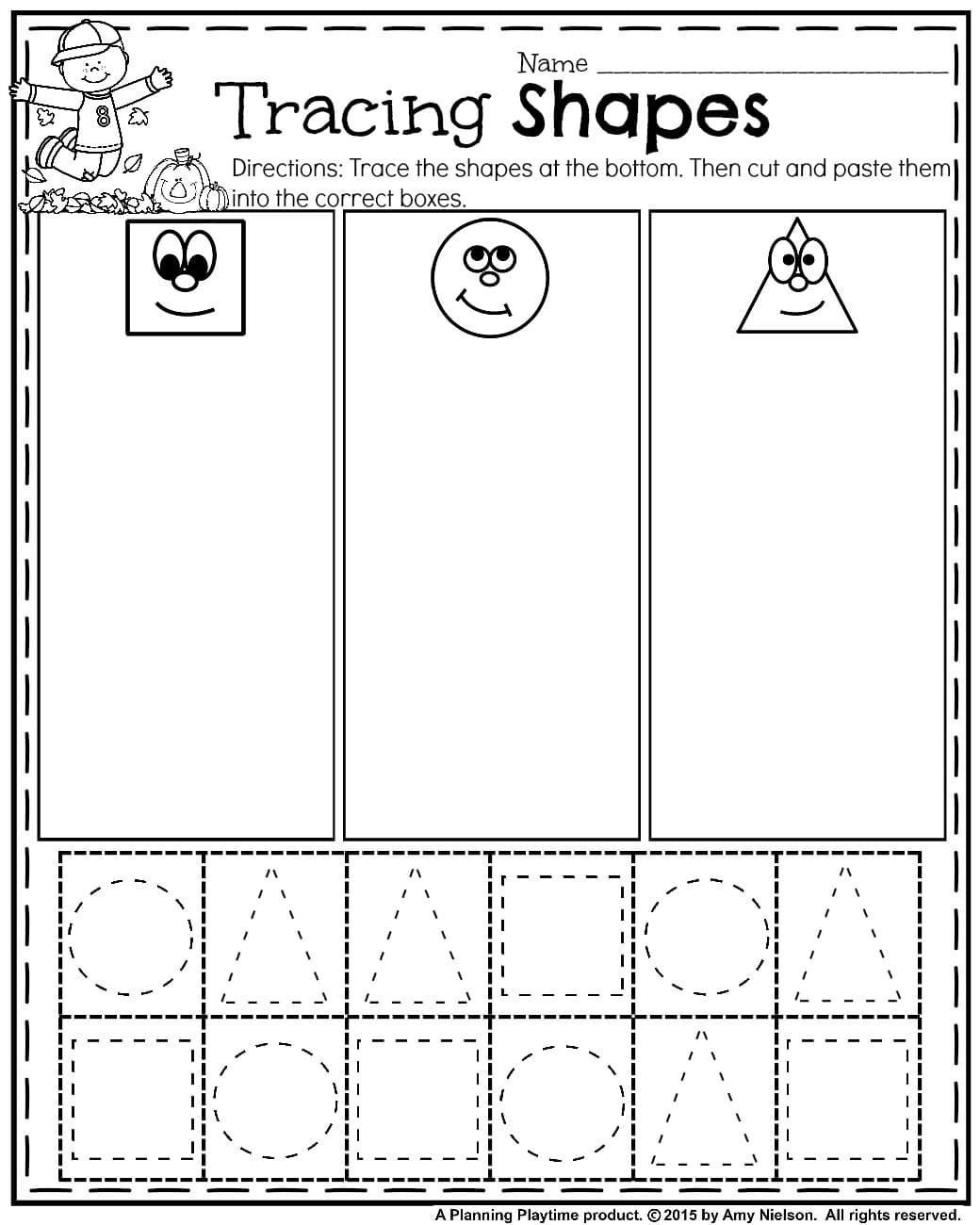 Kindergarten Worksheets Cut and Paste October Preschool Worksheets Planning Playtime