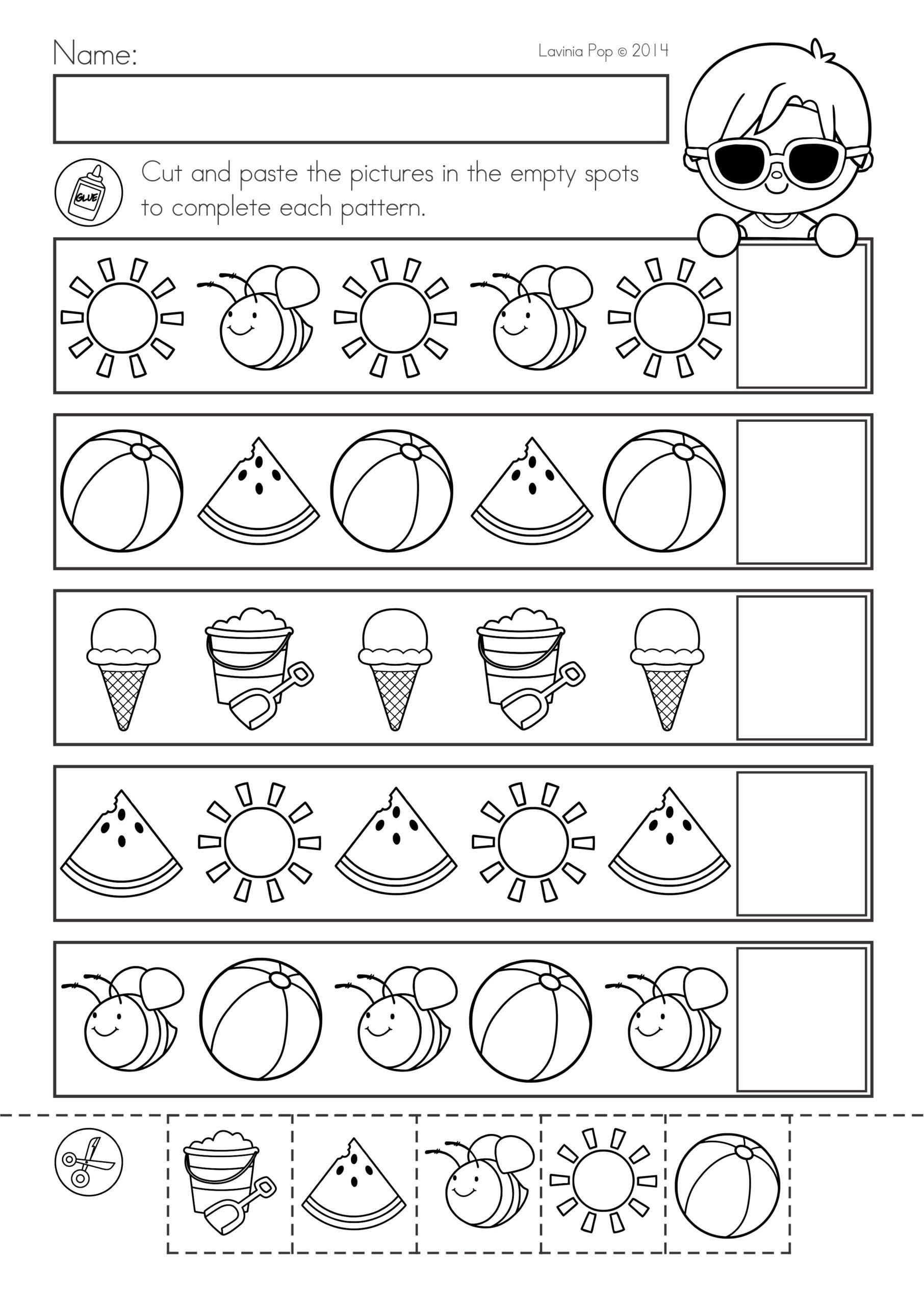 Kindergarten Worksheets Cut and Paste Summer Review Kindergarten Math Literacy Worksheets