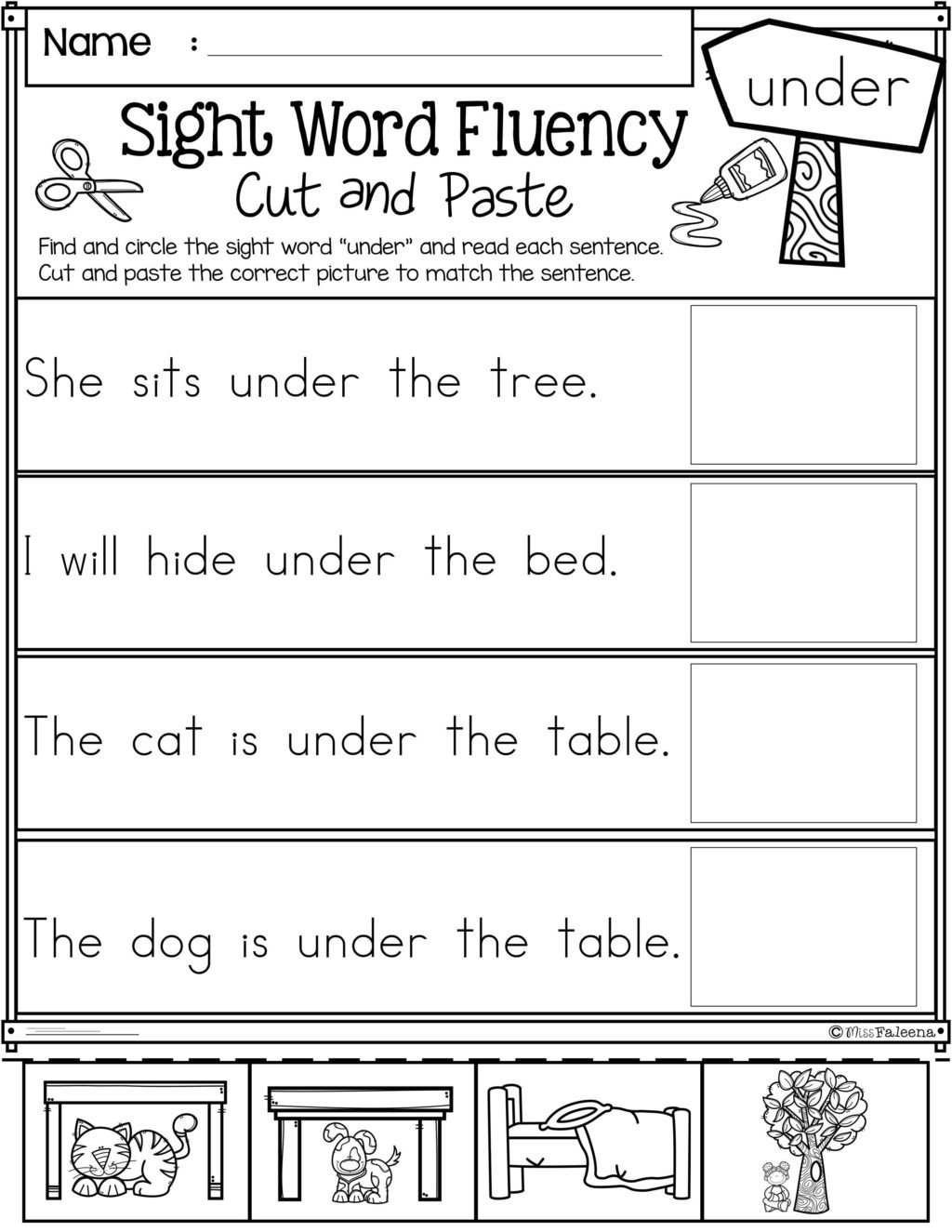 Kindergarten Worksheets Cut and Paste Worksheet Cut and Paste Sentences Kindergarten Sight Word