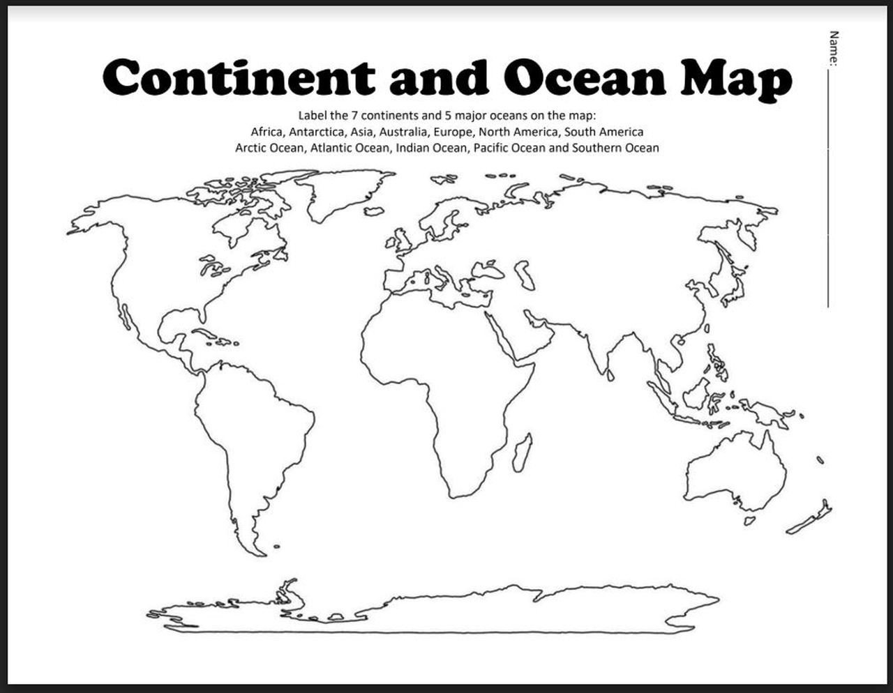 Label Continents and Oceans Worksheets Continent and Ocean Map Worksheet Blank