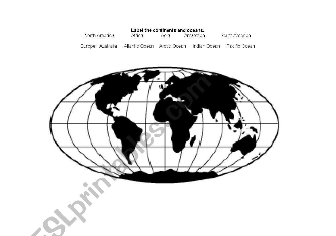 Label Continents and Oceans Worksheets English Worksheets Label Continents and Oceans