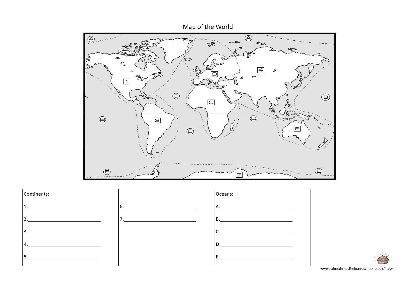 Label Continents and Oceans Worksheets Functionalinspiring Continents and Oceans Worksheet